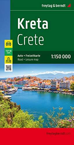 Kreta, Autokarte 1:150.000, Top 10 Tips: Top 10 Tips Sehenswürdigkeiten. Citypläne. Ortsregister mit Postleitzahlen (freytag & berndt Auto + Freizeitkarten