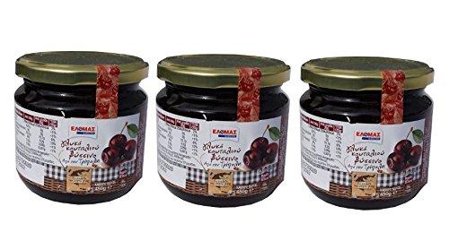 3 Gläser Sauerkirschen Vyssino eingelegt in Sirup je 450g griechische eingelegte Sauer Kirschen zu Joghurt und Eiscreme - Süßspeise Süßigkeit Vissino + 10ml Olivenöl aus Kreta