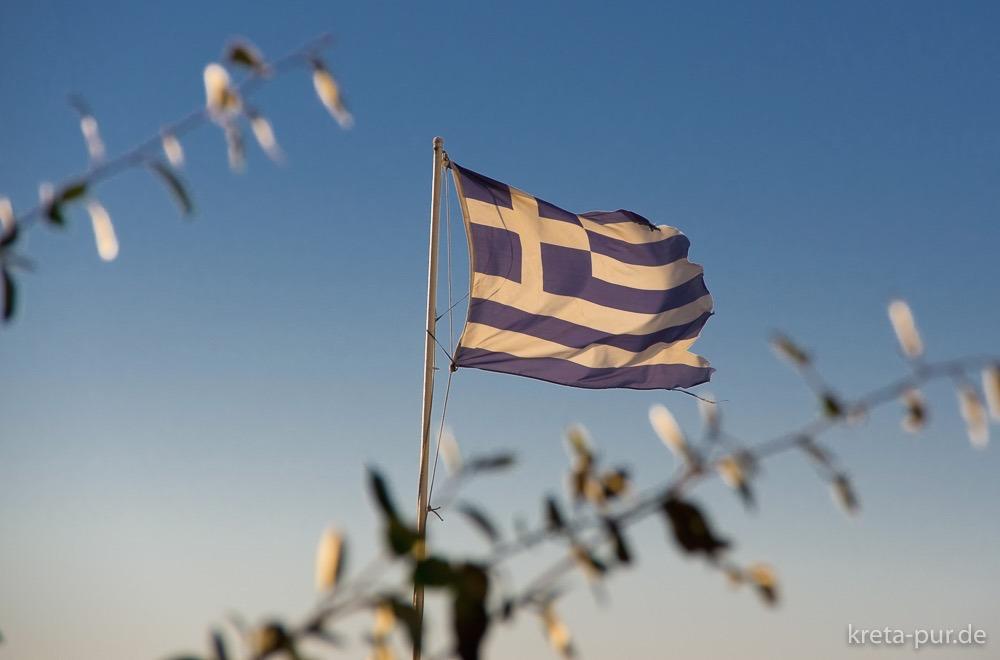 Griechische Fahne in Kalamaki, Kreta