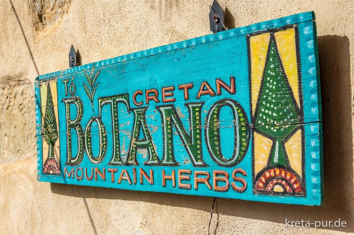 Schild, Botano, Kouses, Kreta