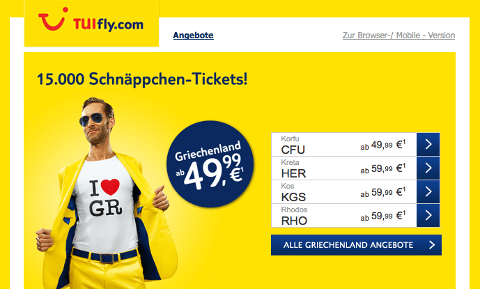 TUIfly-Schnäppchen Screenshot Mail