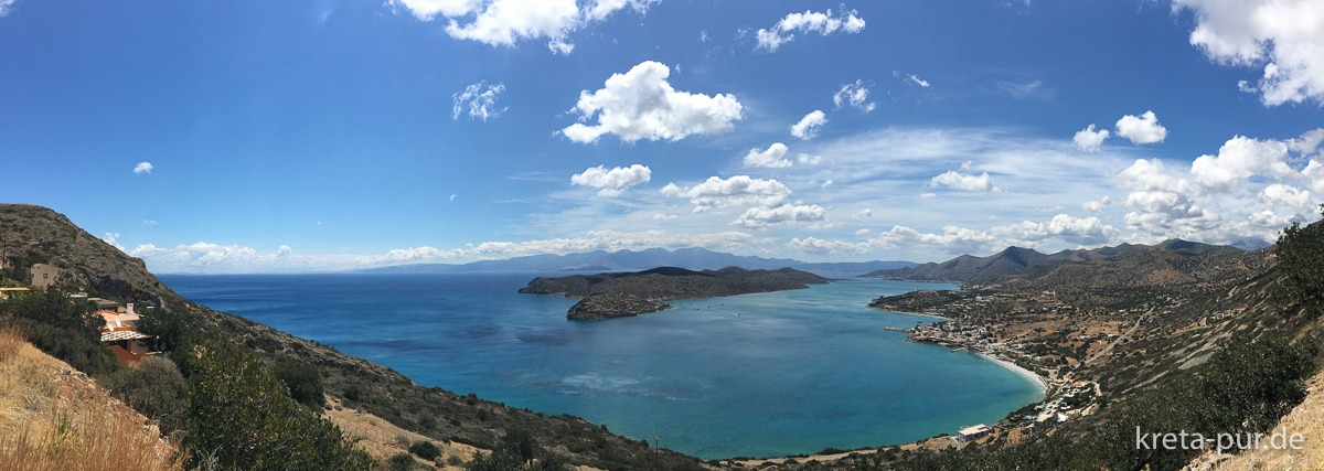 Panorama Mirabello-Bucht von oberhalb Plakas