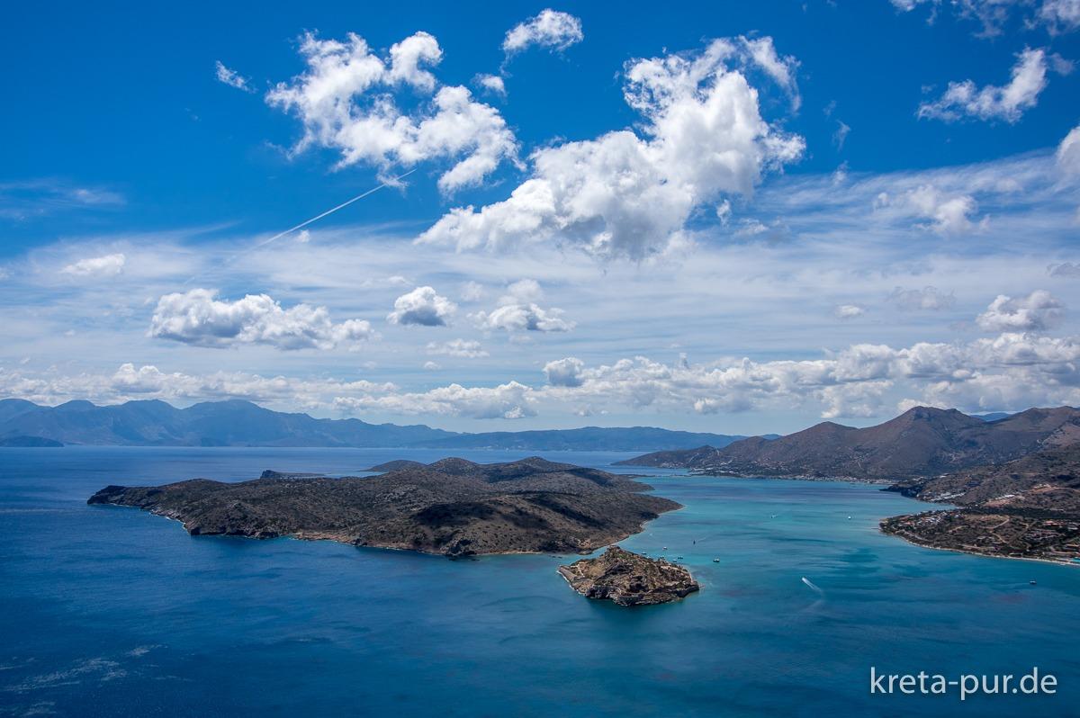 Blick auf Spinalonga und die Bucht von Mirabello