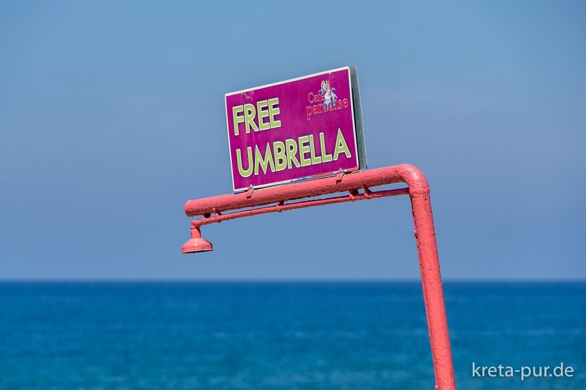 (Nicht nur) Gratis-Schirme, Kalamaki, Kreta