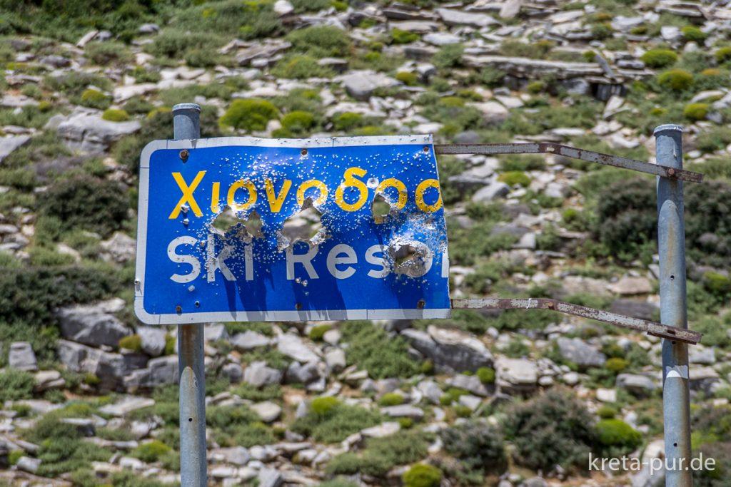 Ski-Resort, Schild auf Kreta