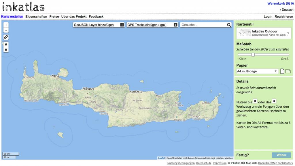 Screenshot inkatlas - PDF-Karten selbst erstellen